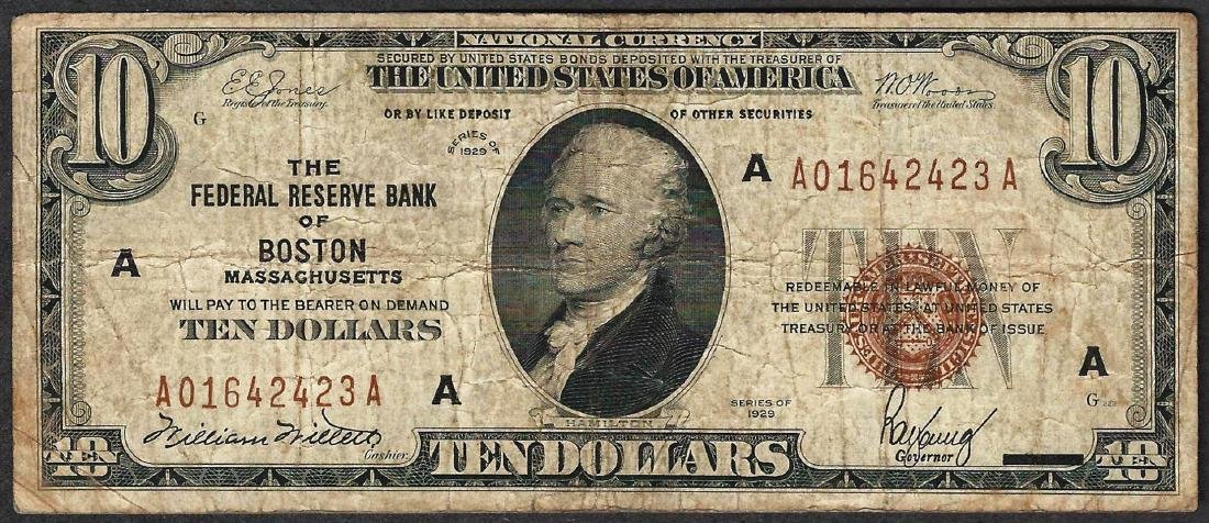 1929 $10 Federal Reserve Bank of Boston Note