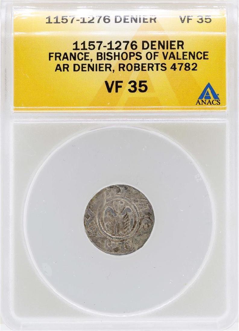 1157-1276 Denier France Bishops of Valence Coin ANACS