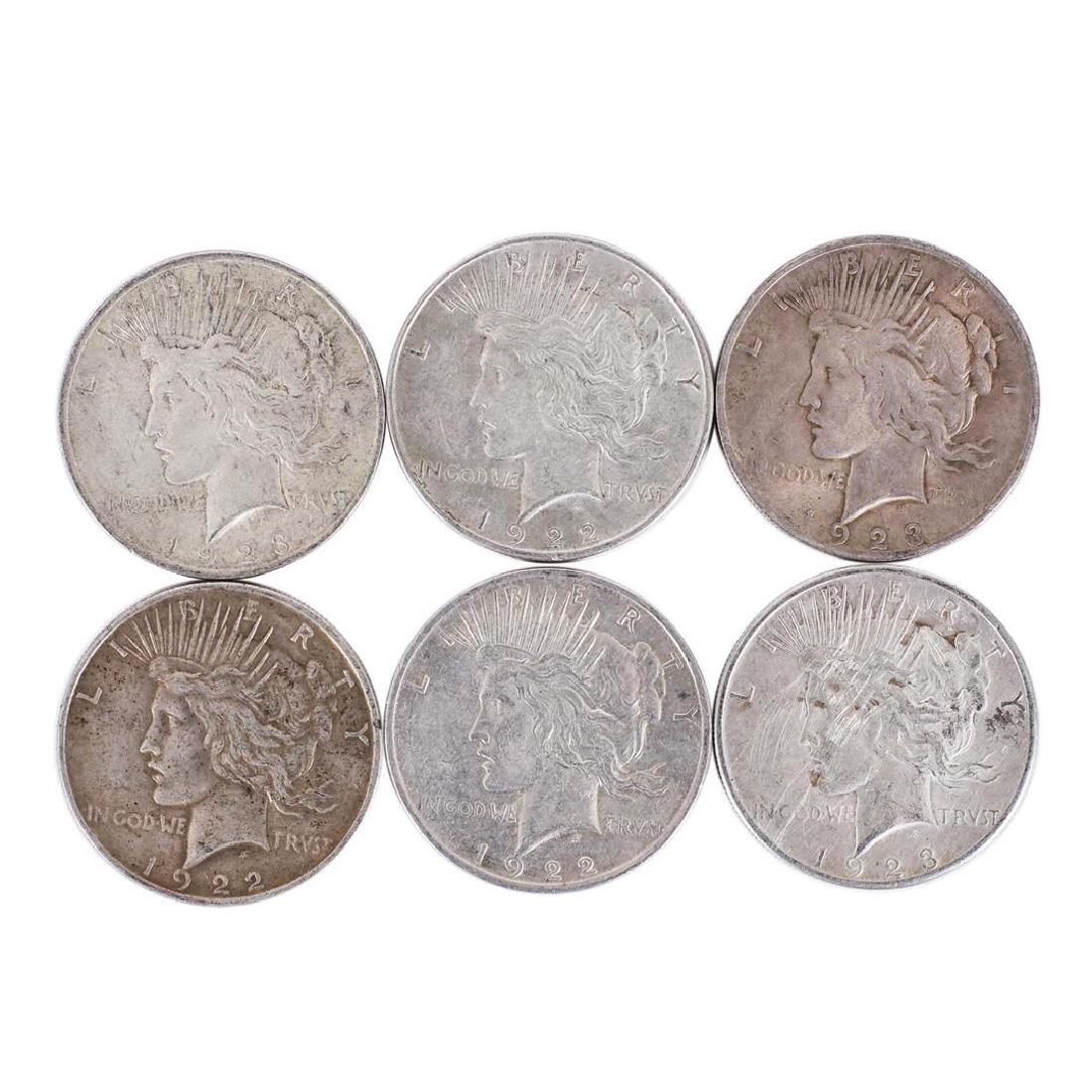 Lot of (6) $1 Peace Silver Dollar Coins