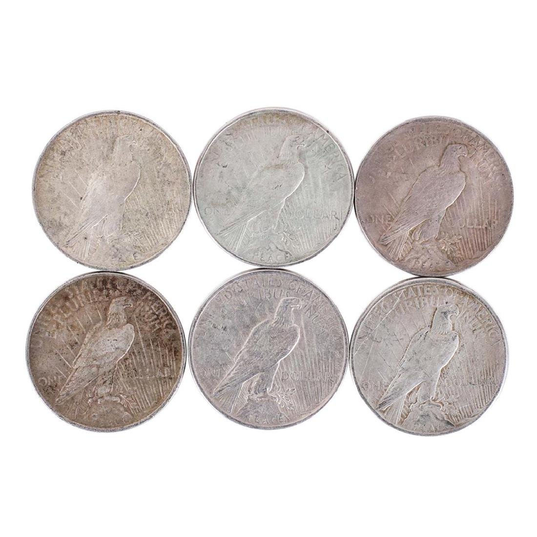 Lot of (6) $1 Peace Silver Dollar Coins - 2