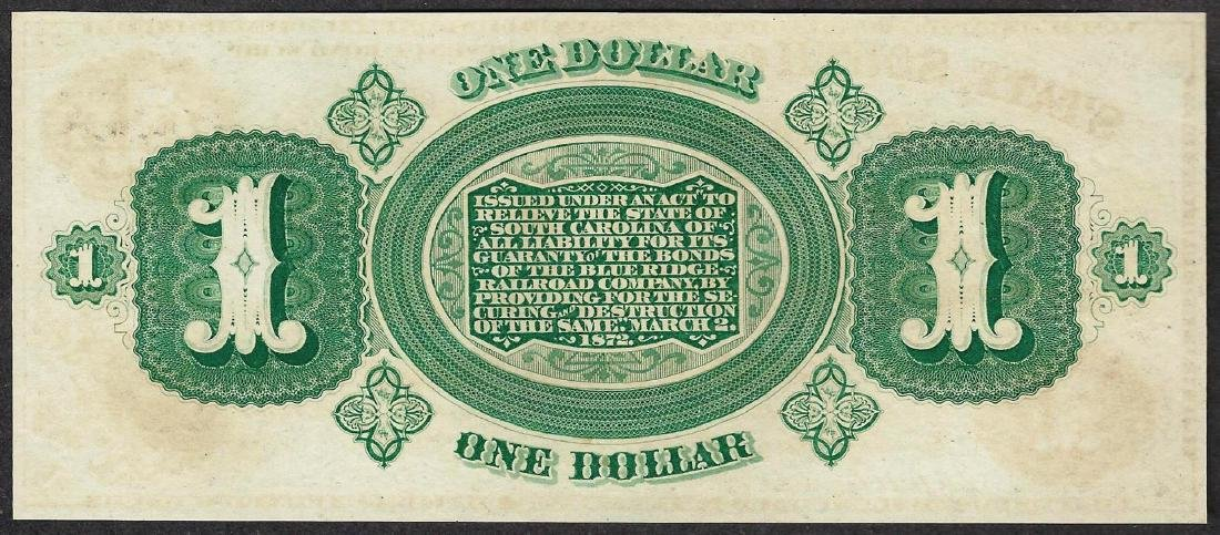 1872 $1 State of South Carolina Obsolete Bank Note - 2