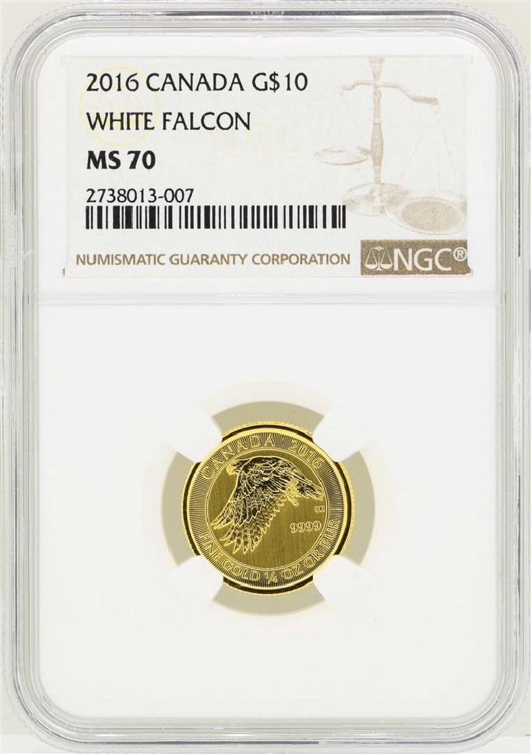 2016 Canada $10 White Falcon Gold Coin NGC MS70