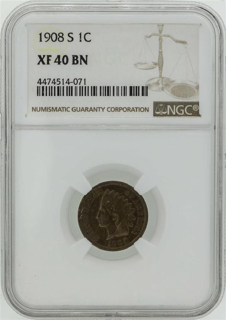 1908-S Indian Head Penny Coin NGC XF40BN