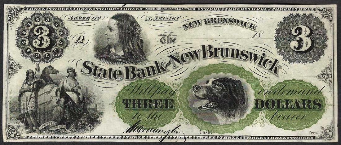 1800's $3 State Bank at New Brunswick Obsolete Note