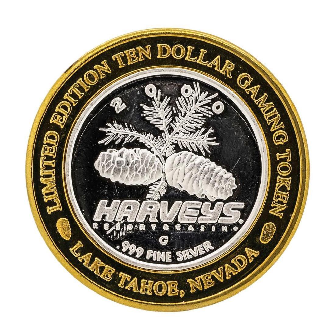 .999 Silver Harveys Lake Tahoe, Nevada $10 Casino - 2