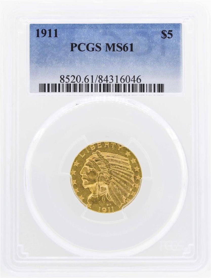 1911 $5 Indian Head Half Eagle Gold Coin PCGS MS61