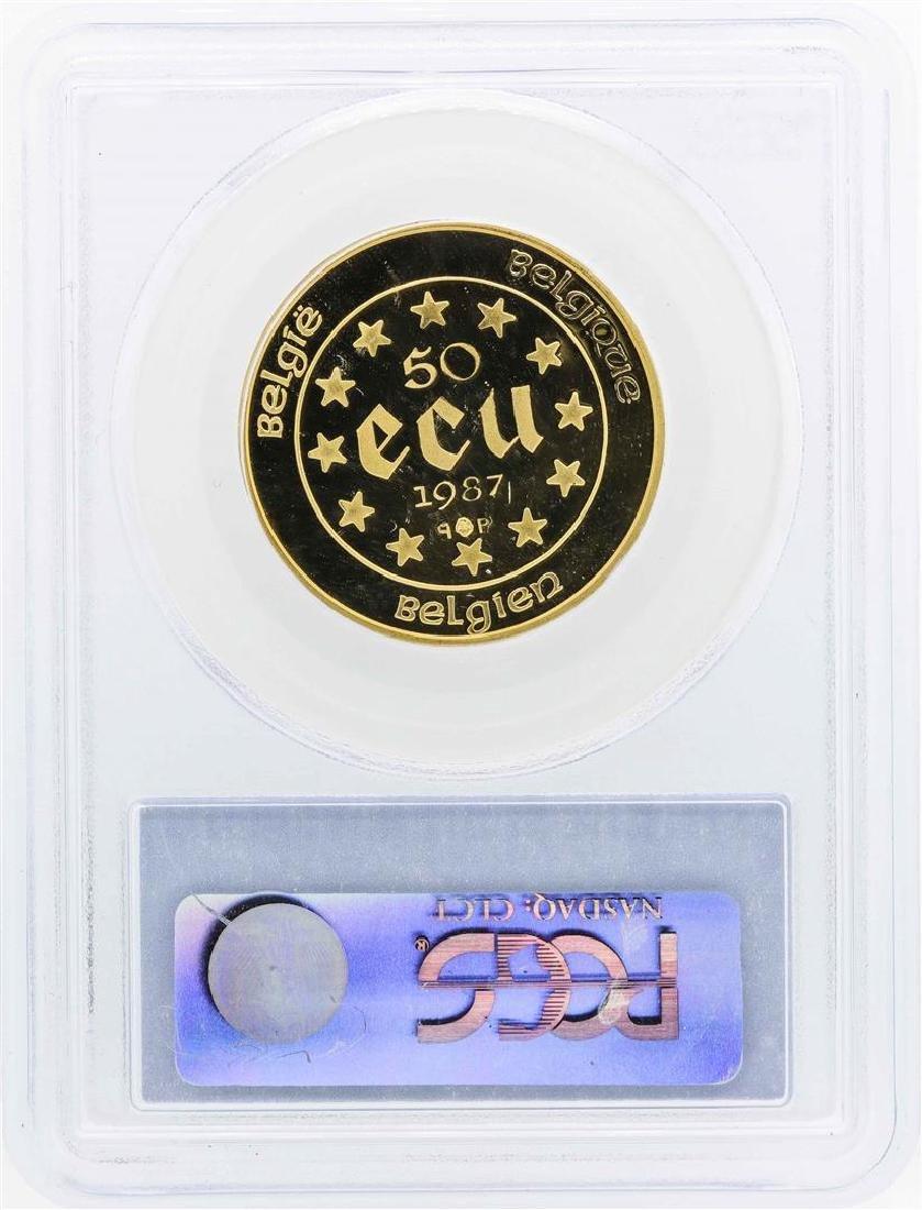 1987 Belgium 50 Ecu 1/2 Oz. Gold Coin PCGS PR68DCAM - 2