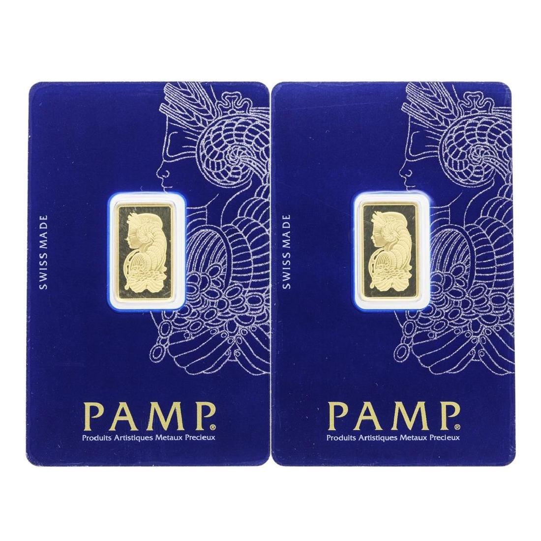 Lot of (2) 5 gram .9999 PAMP Suisse Fine Gold Ingot