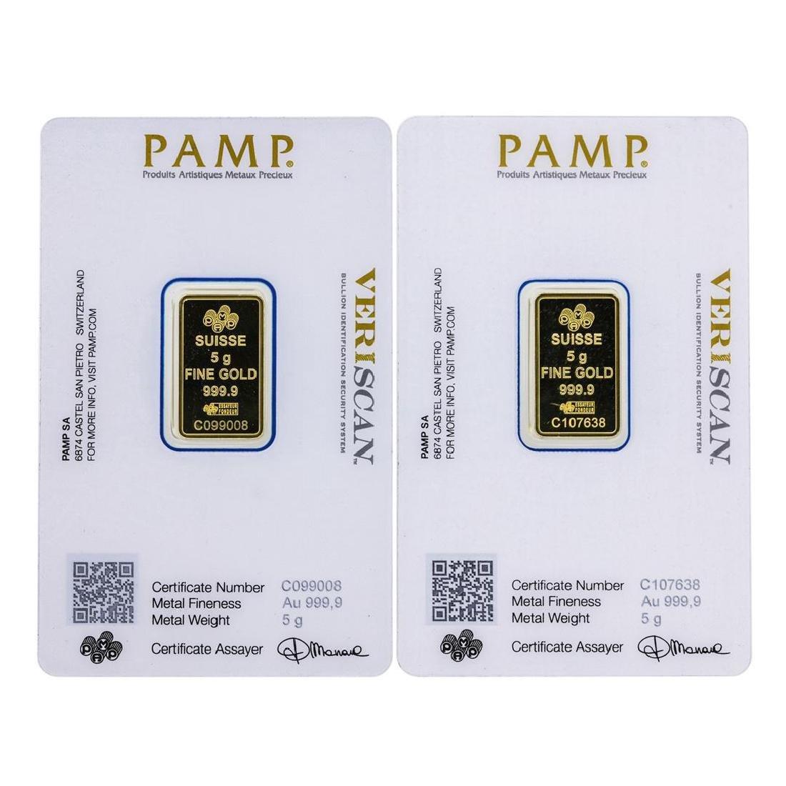 Lot of (2) 5 gram .9999 PAMP Suisse Fine Gold Ingot - 2