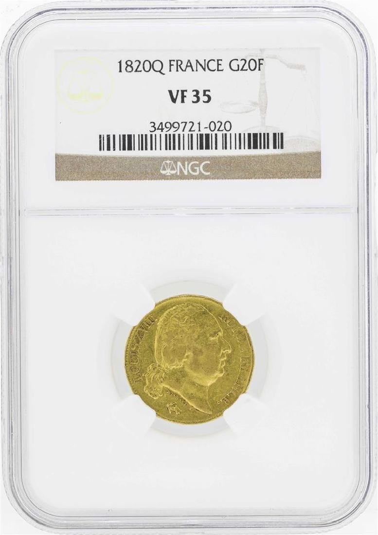 1820Q France 20 Francs Gold Coin NGC VF35