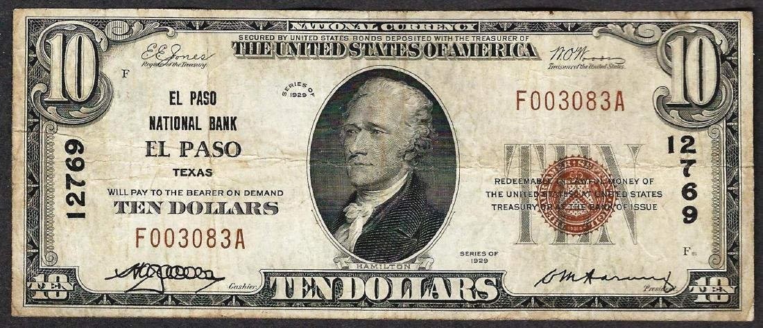 1929 $10 El Paso Texas National Currency Note CH# 12769