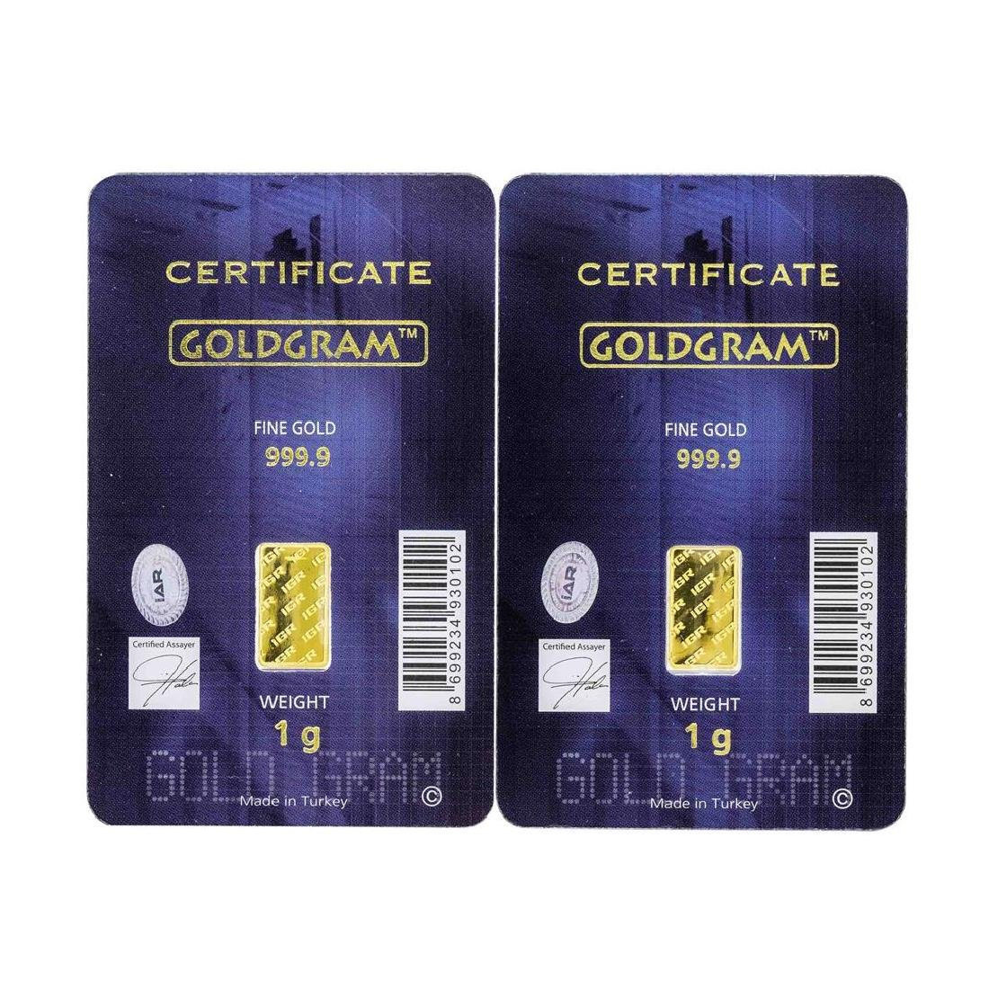 Set of (2) 1 Gram Istanbul Gold Refinery Cards - 2