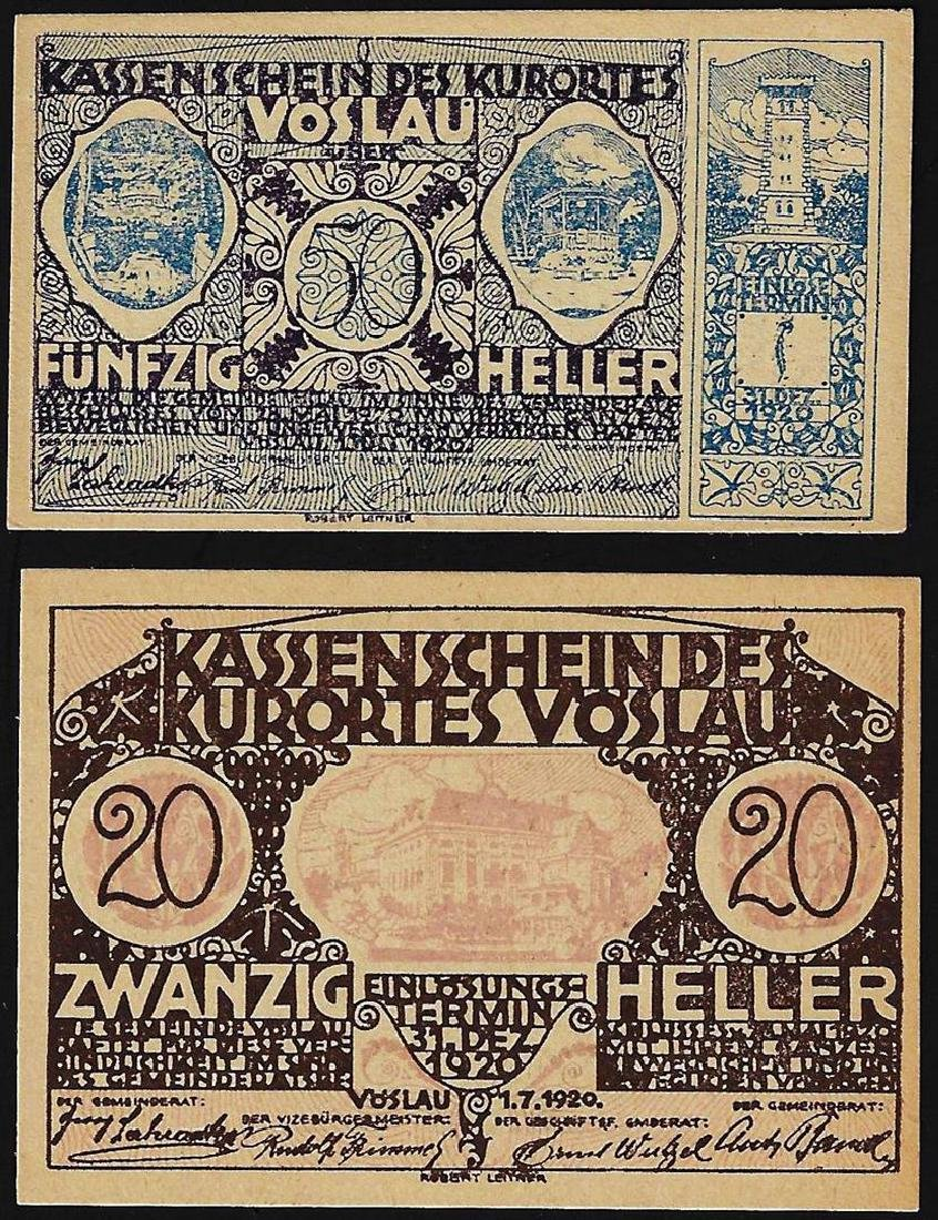 Set of (2) 1920 Austria Heller 20, 50 Bank Notes