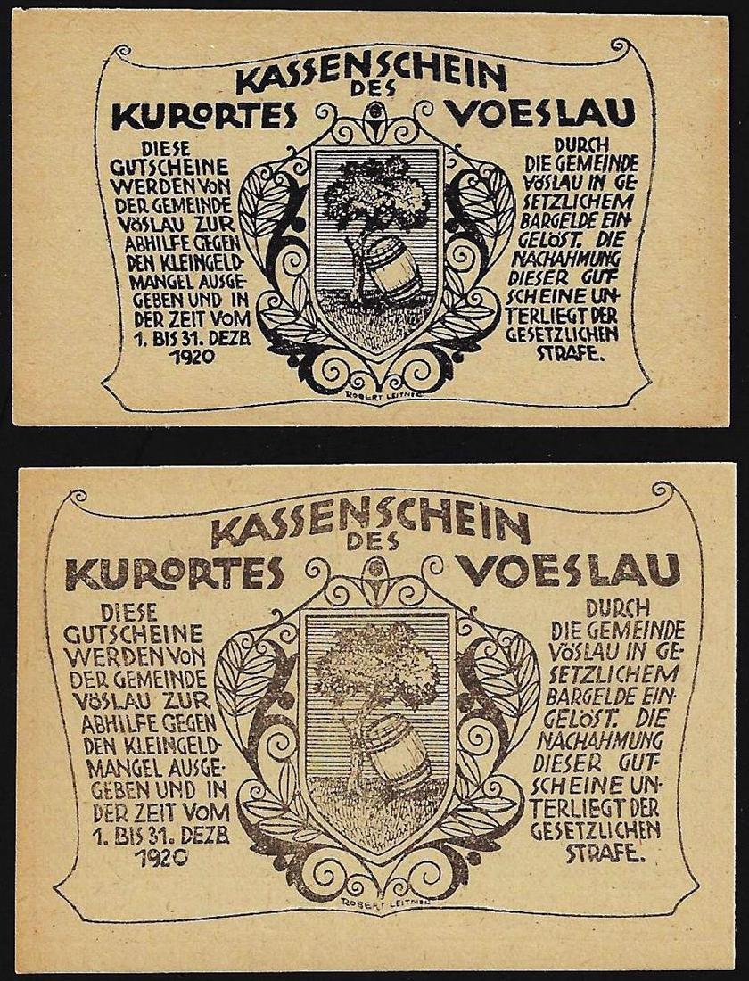 Set of (2) 1920 Austria Heller 20, 50 Bank Notes - 2