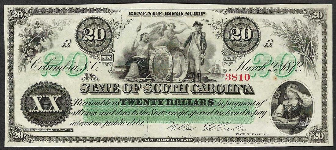 1872 $20 State of South Carolina Obsolete Bank Note