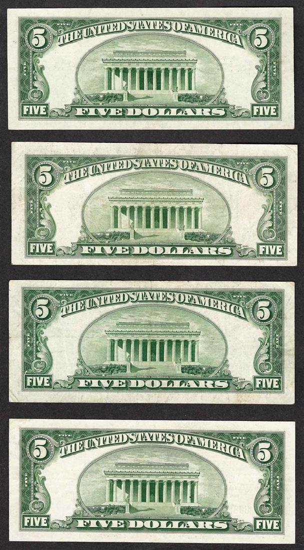 Lot of (4) 1934D $5 Silver Certificate Notes - 2
