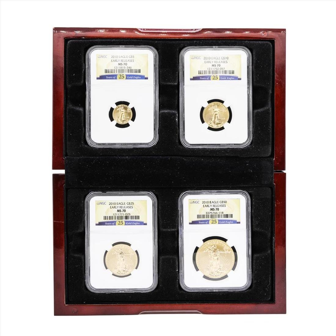2010 American Gold Eagle (4) Coin Set NGC MS70 Early