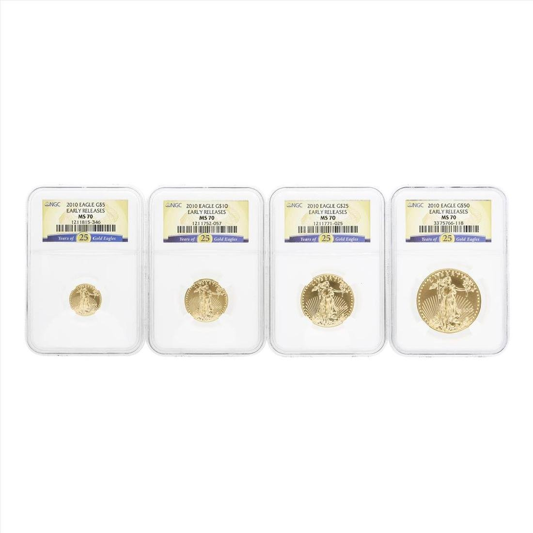 2010 American Gold Eagle (4) Coin Set NGC MS70 Early - 2