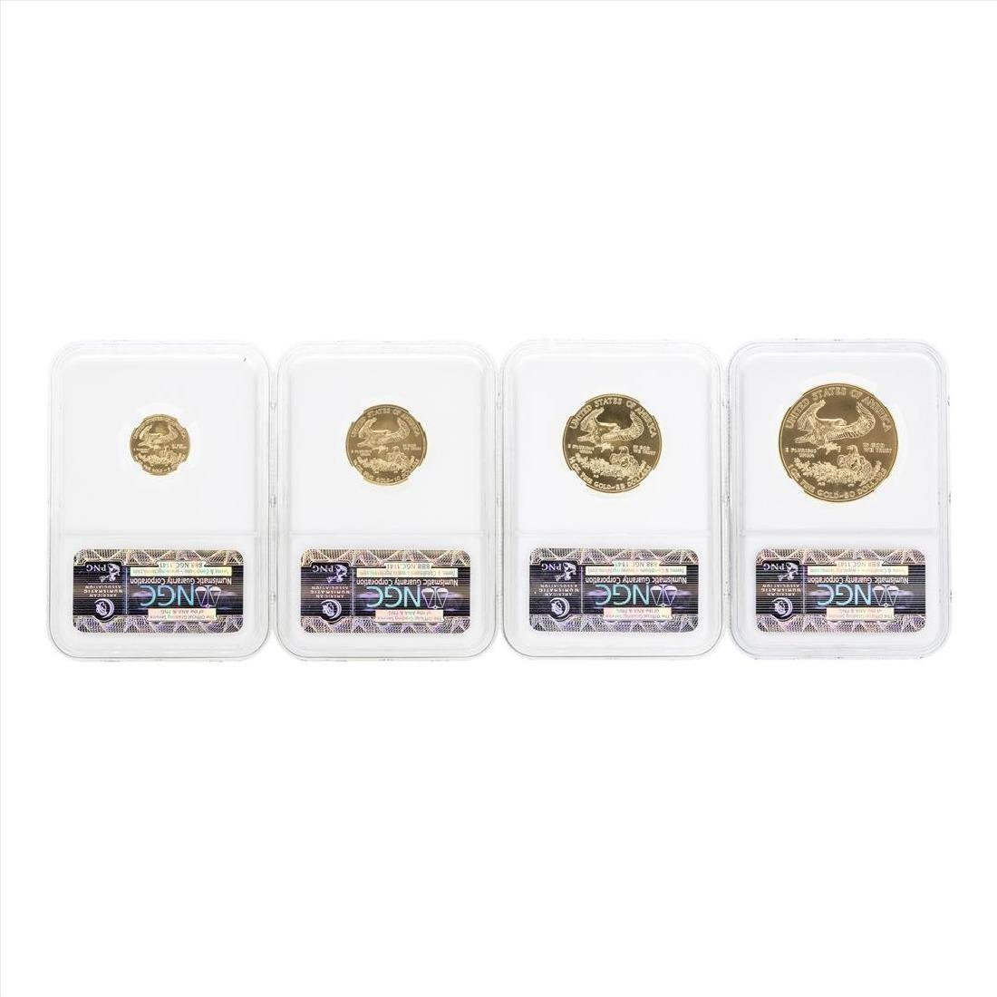 2010 American Gold Eagle (4) Coin Set NGC MS70 Early - 3
