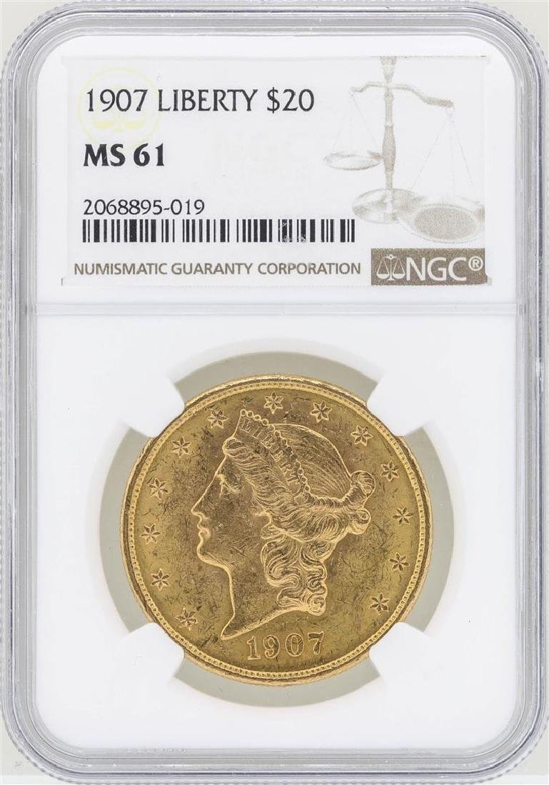 1907 $20 Liberty Head Double Eagle Gold Coin NGC MS61
