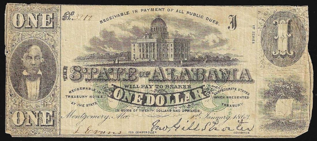 1863 $1 State of Alabama Obsolete Bank Note