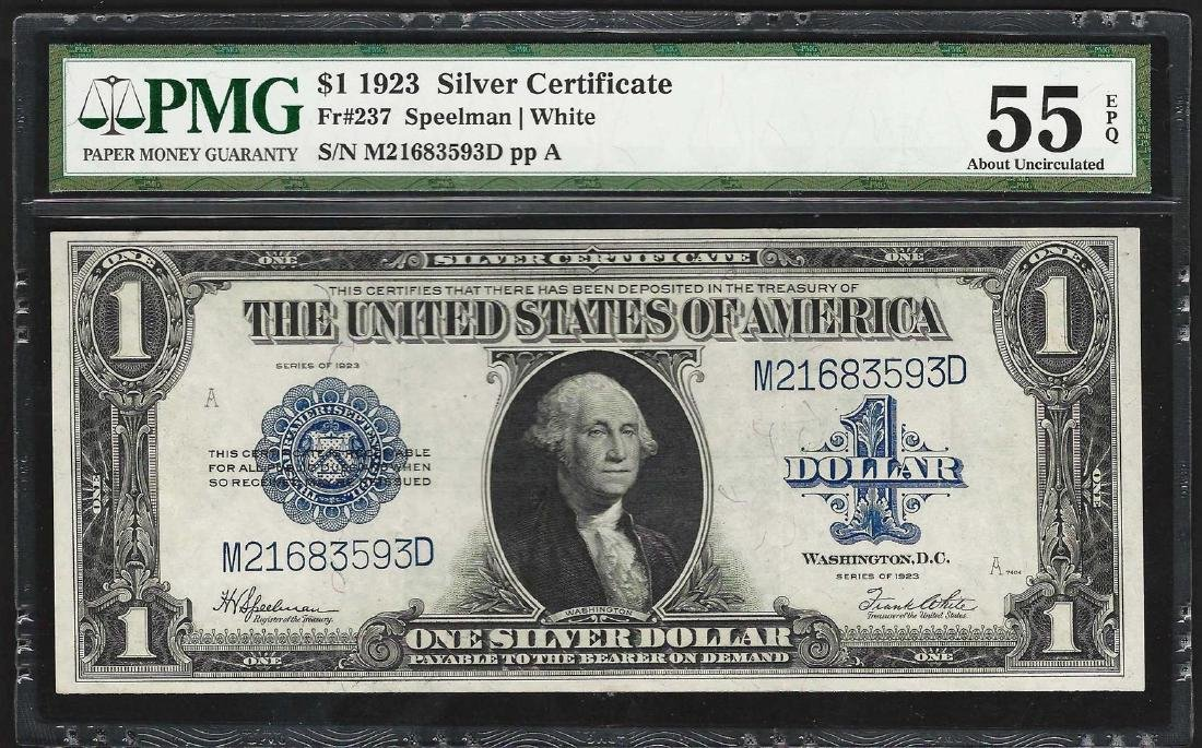 1923 $1 Silver Certificate Note Fr.237 PMG About