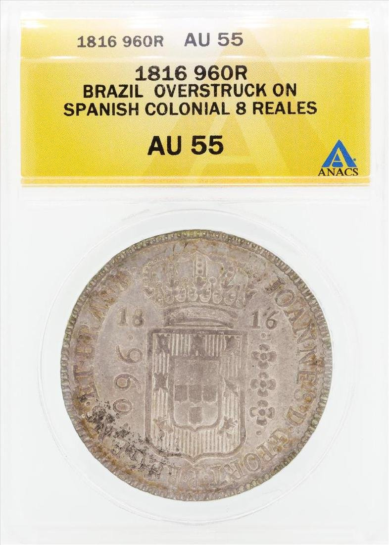 1816 960R Brazil Overstruck on Spanish Colonial 8