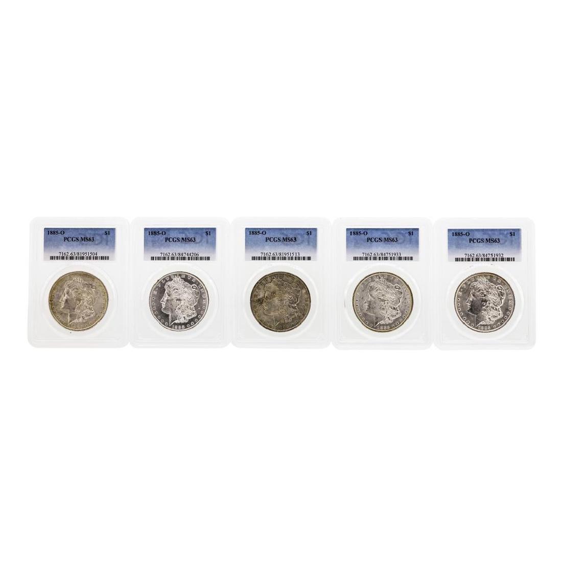 Lot of (5) 1885-O $1 Morgan Silver Dollar Coins PCGS