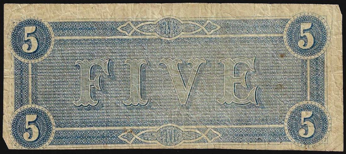1864 $5 Confederate States of America Note - 2