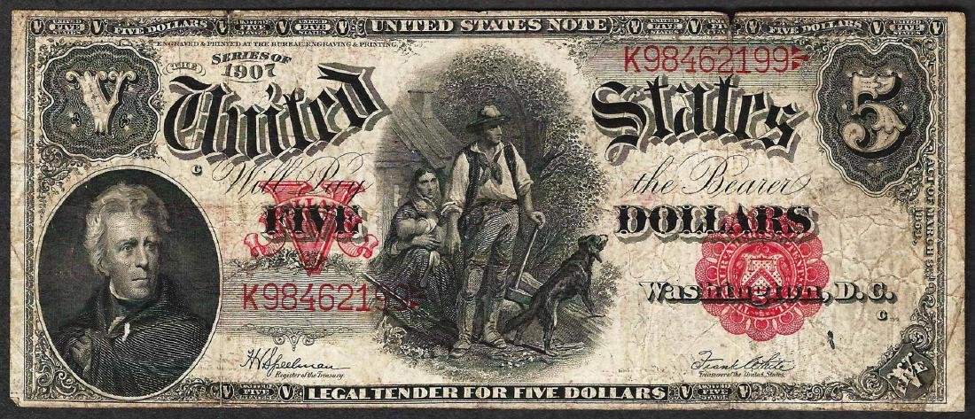 1907 $5 Woodchopper Legal Tender Note