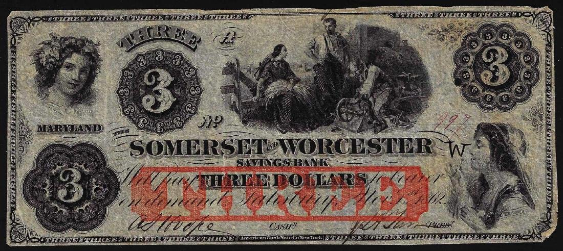 1862 $3 Somerset and Worcester Savings Bank Obsolete