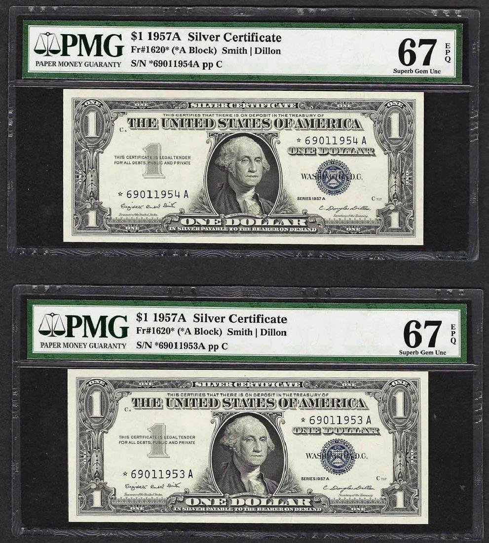 Lot of (2) 1957A $1 Silver Certificate STAR Notes PMG