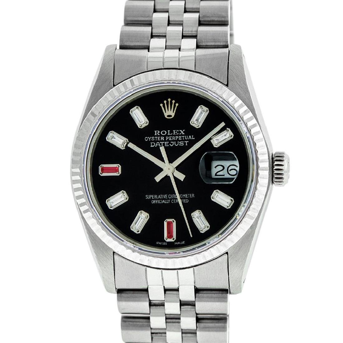 Rolex Mens 36mm Stainless Steel Black Diamond and Ruby