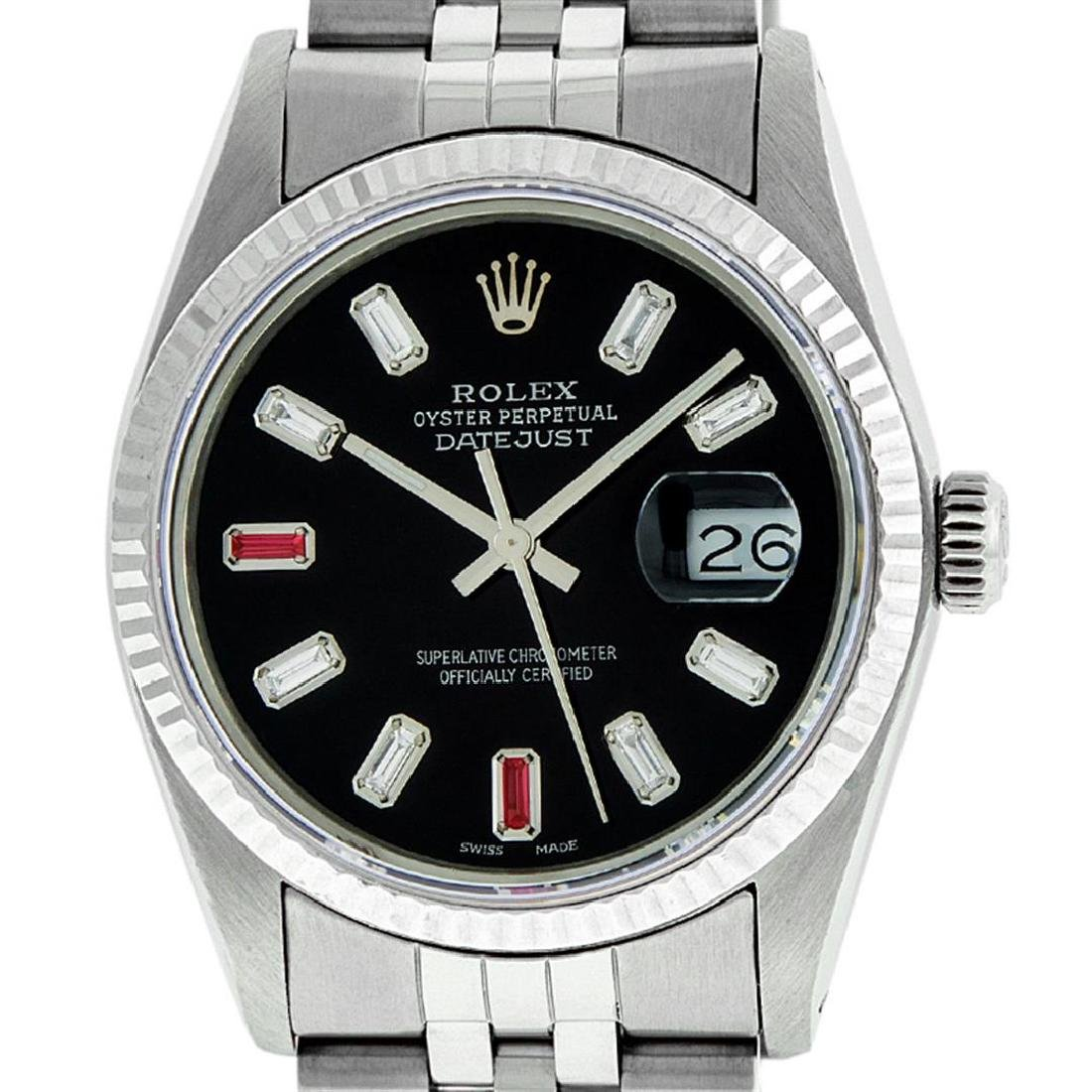 Rolex Mens 36mm Stainless Steel Black Diamond and Ruby - 2