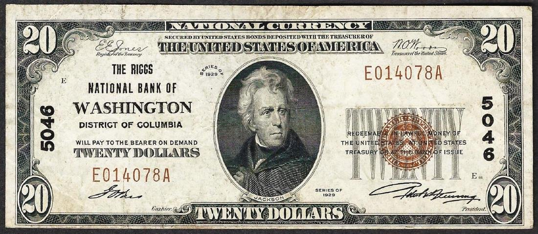 1929 $20 Washington District of Columbia National