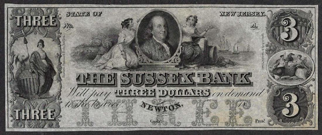 1800's $3 The Sussex Bank Obsolete Note