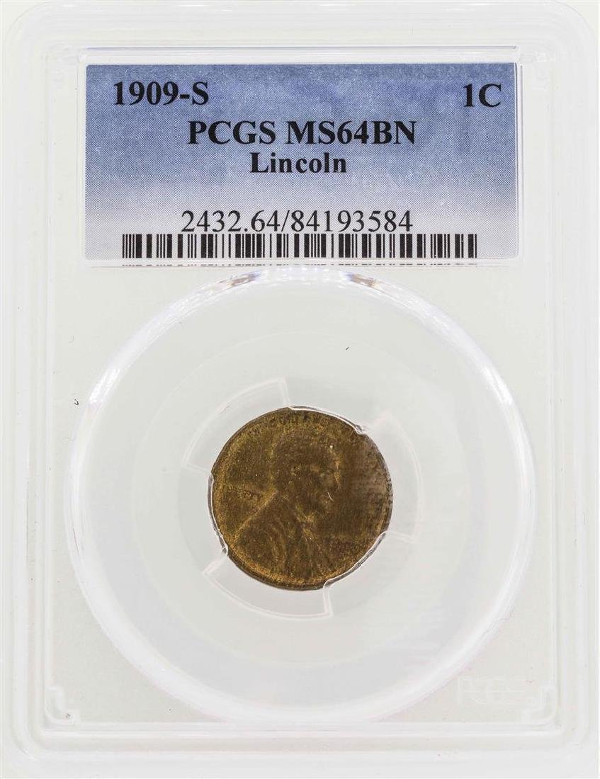 1909-S Lincoln Wheat Penny Coin PCGS MS64BN