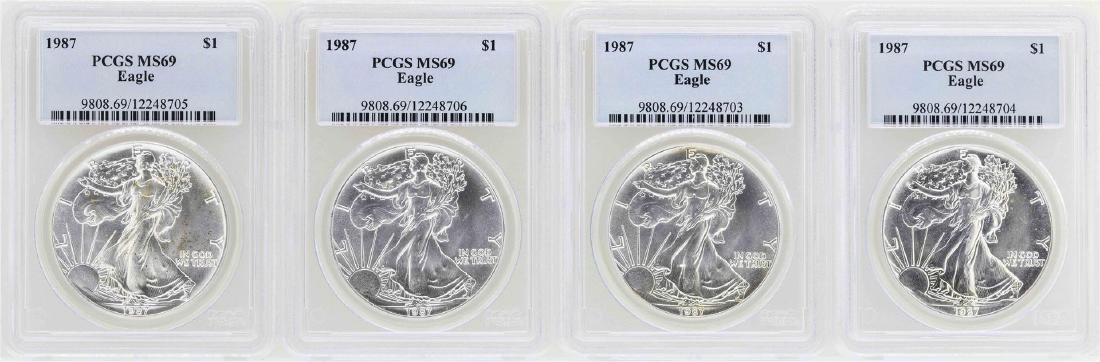 Lot of (4) 1987 $1 American Silver Eagle Coins PCGS