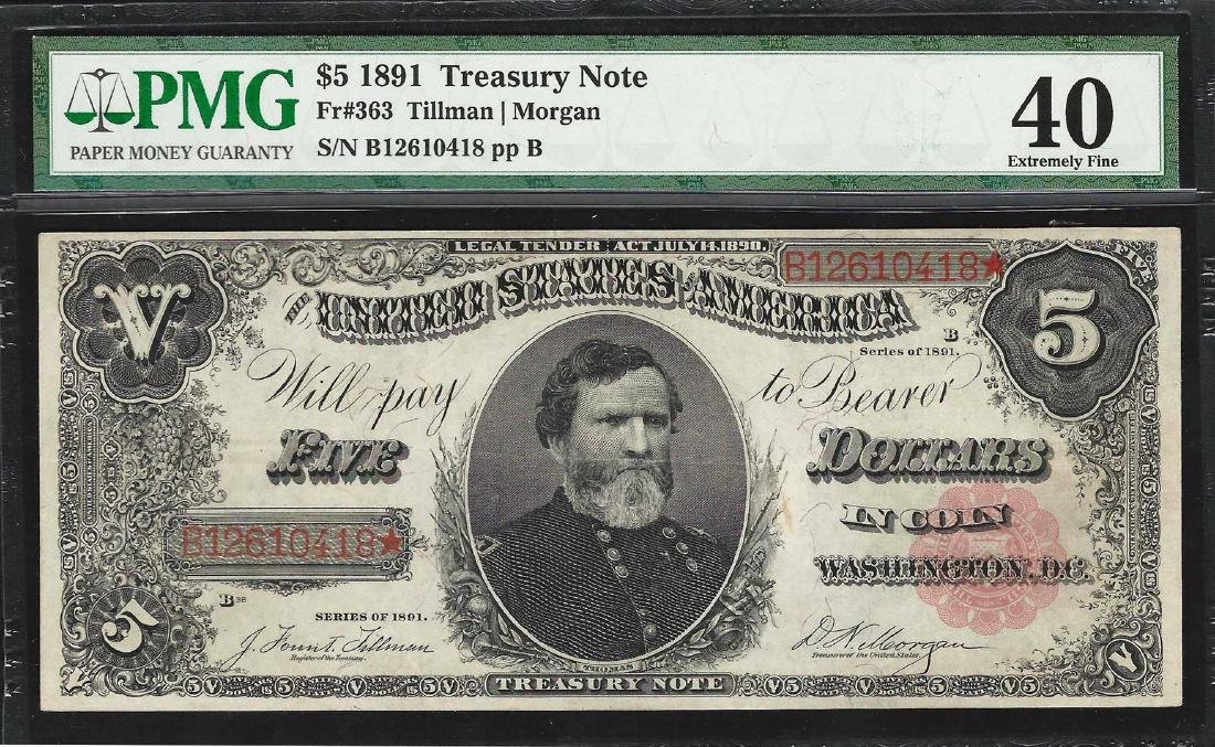 1891 $5 Treasury Note Fr.363 PMG Extremely Fine 40