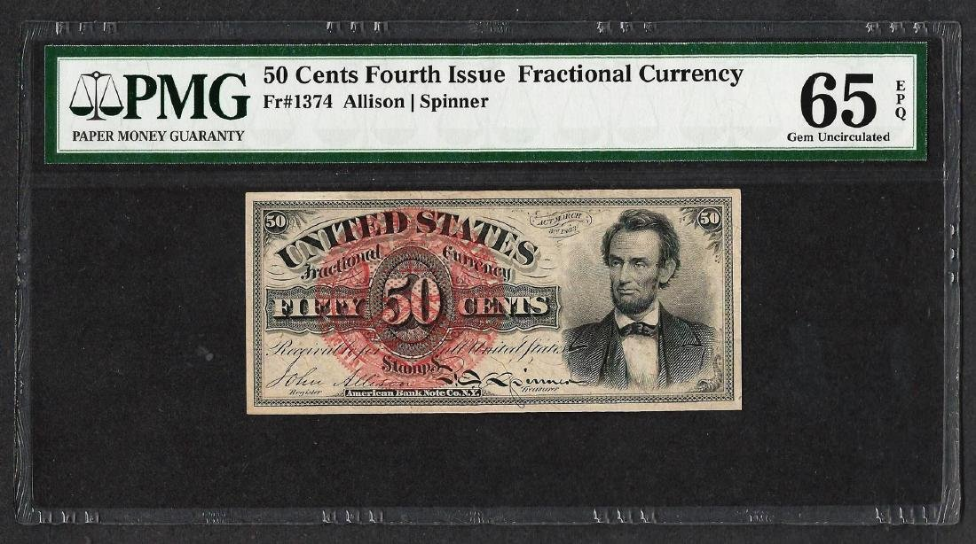 1863 Fourth Issue 50 Cents Fractional Currency Note PMG