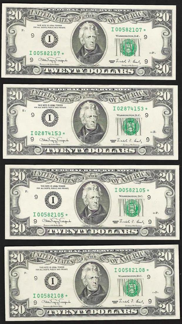 Lot of (4) 1990 $20 Federal Reserve STAR Notes