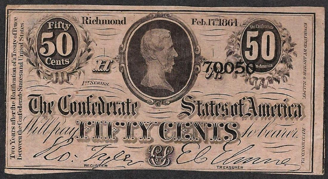 1864 50 Cents Confederate States of America Note