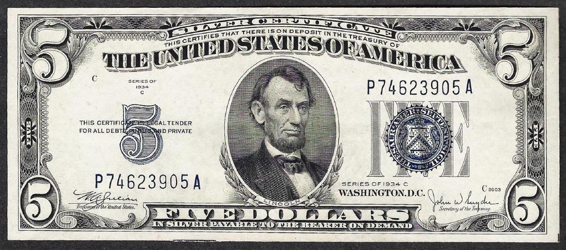 1934C $5 Silver Certificate Note