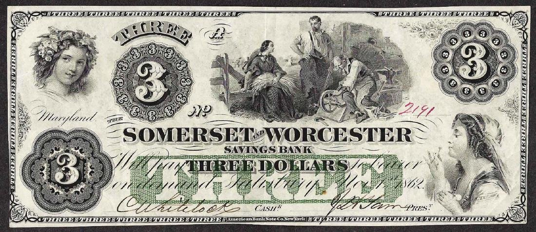 1862 $3 The Somerset and Worcester Savings Bank