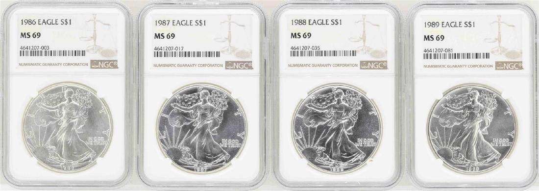 Lot of 1986-1989 $1 American Silver Eagle Coins NGC