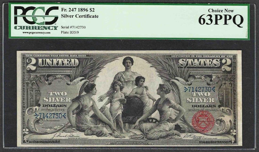 1896 $2 Educational Silver Certificate Note Fr.247 PCGS