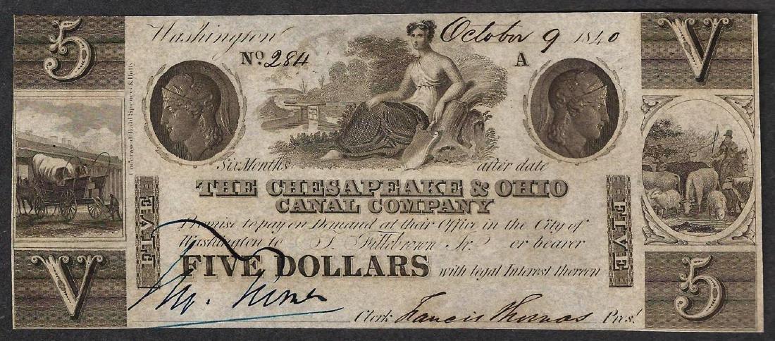 1840 $5 The Chesapeake & Ohio Canal Company Obsolete