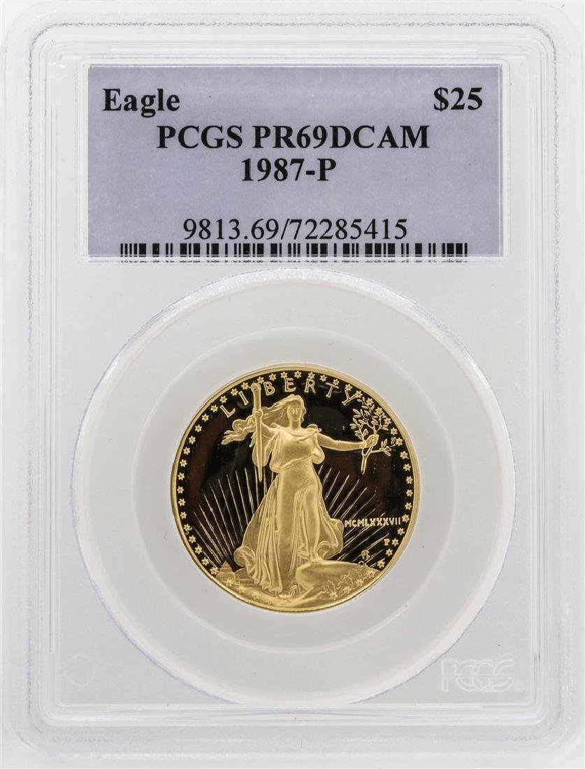 1987-P $25 American Gold Eagle Proof Coin PCGS PR69DCAM