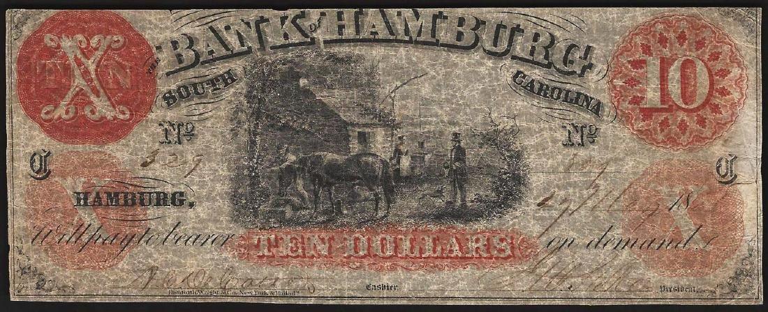 1800's $10 The Bank of Hamburg South Carolina Obsolete