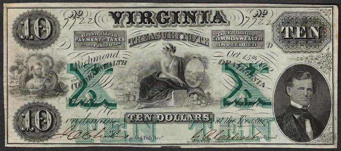1862 $10 The Virginia Treasury Obsolete Note